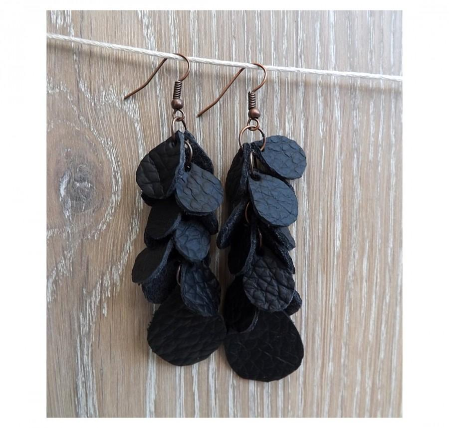 "Boda - Leather earrings - ""Black currant"" - Chandelier Earrings - boho earrings"