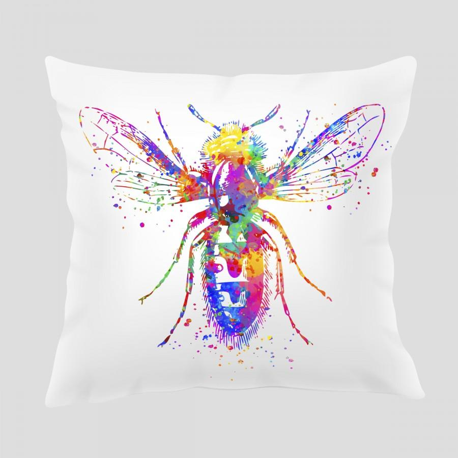 Boda - Watercolor Bee Throw Pillow, Watercolor Bee Pillow, Pillow Cover, Accent Pillow, Nursery Decor, Kids Room Decor