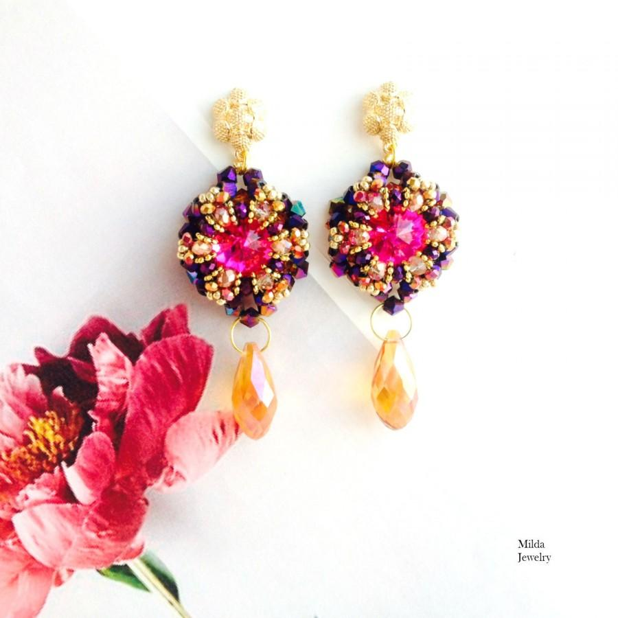 Wedding - Colorful beaded earrings, beadwork jewelry, pink, gold, purple seed bead earrings, dangle drop earrings, bead embroidery, handmade cluster