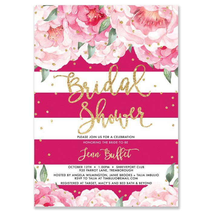 "Wedding - ""Jenn"" Peonies   Magenta Stripe Bridal Shower Invitation"