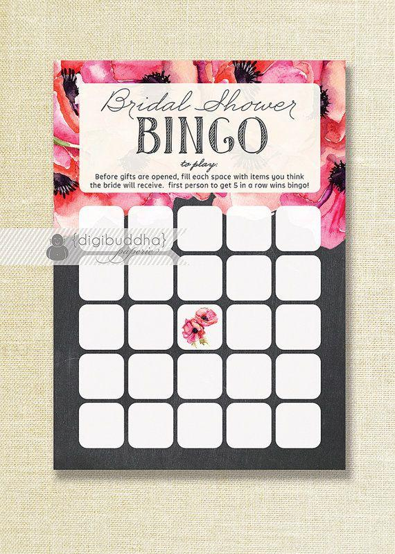 Mariage - Chalkboard & Anemones Bridal Shower Bingo 5x7 Shabby Chic Modern Bridal Shower Game Card 5x7 Printed Game Cards - Leona