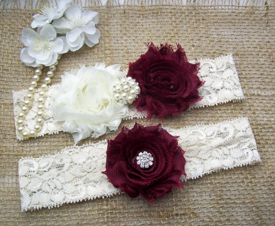 Hochzeit - SALE -Wine Burgundy Rosette Wedding Garter Set,Keepsake & Toss Bridal Garter Set, Wedding Accessories