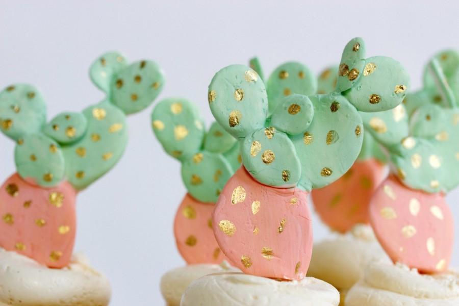 Wedding - 12 Cactus Sugar Decoration, Cacti Sugar Toppers, Cactus Cupcake Toppers
