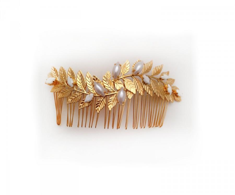 Düğün - Leonora Bridal Hair Comb, Pearls, Grecian Leaves, Gold Plated, Bridal Hair Accessoried, Wedding Comb, Goddess Hair Accessories