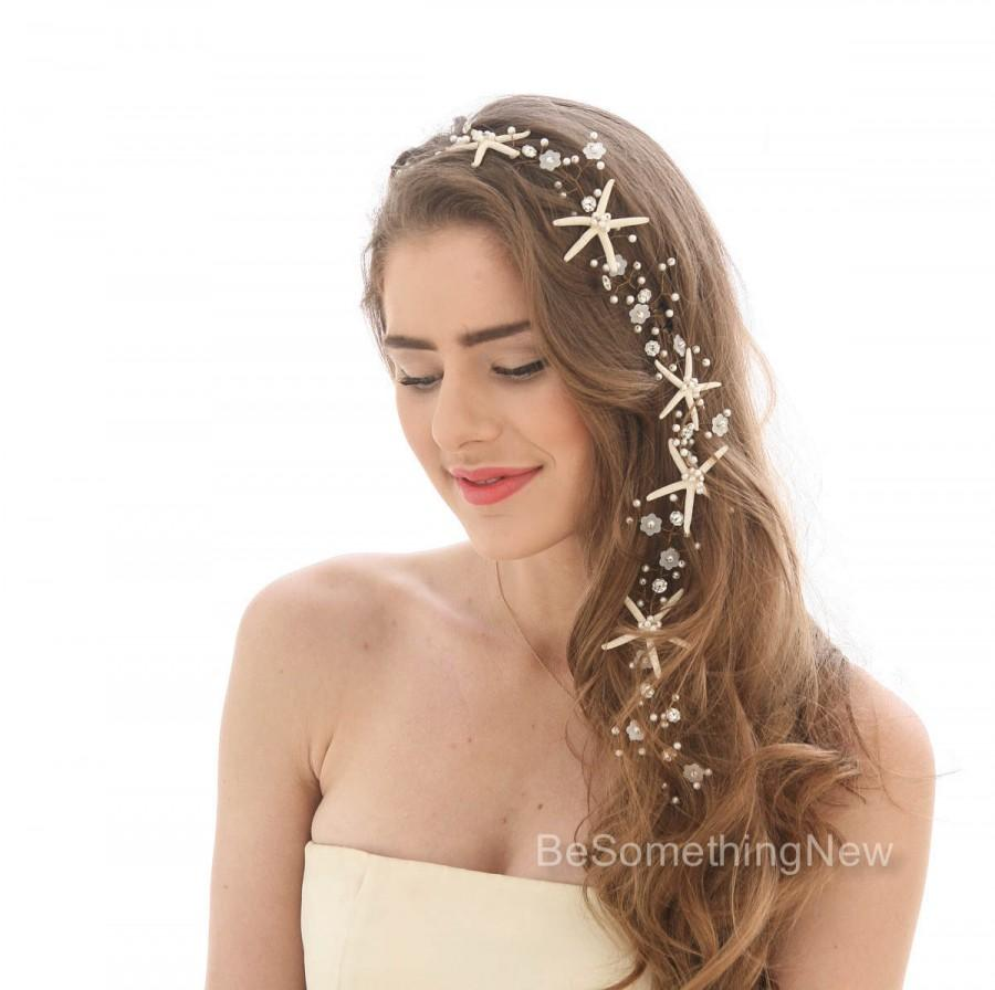 Düğün - Starfish Extra Long Wedding Hair Vine Beaded Wedding Headpiece with Pearls Rhinestones and Star fish Beach Destination Wedding Headpiece