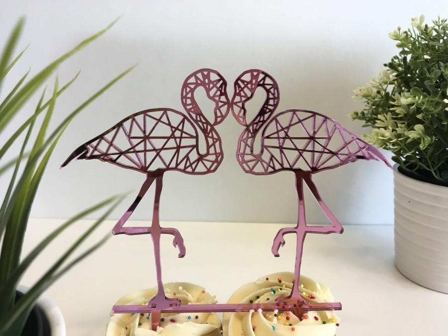 Hochzeit - Flamingo Cake Topper, Personalized Cake Toppers, Wedding Cake Topper, Bridal shower cake topper, Flamingo Party, Tropical Party Decor