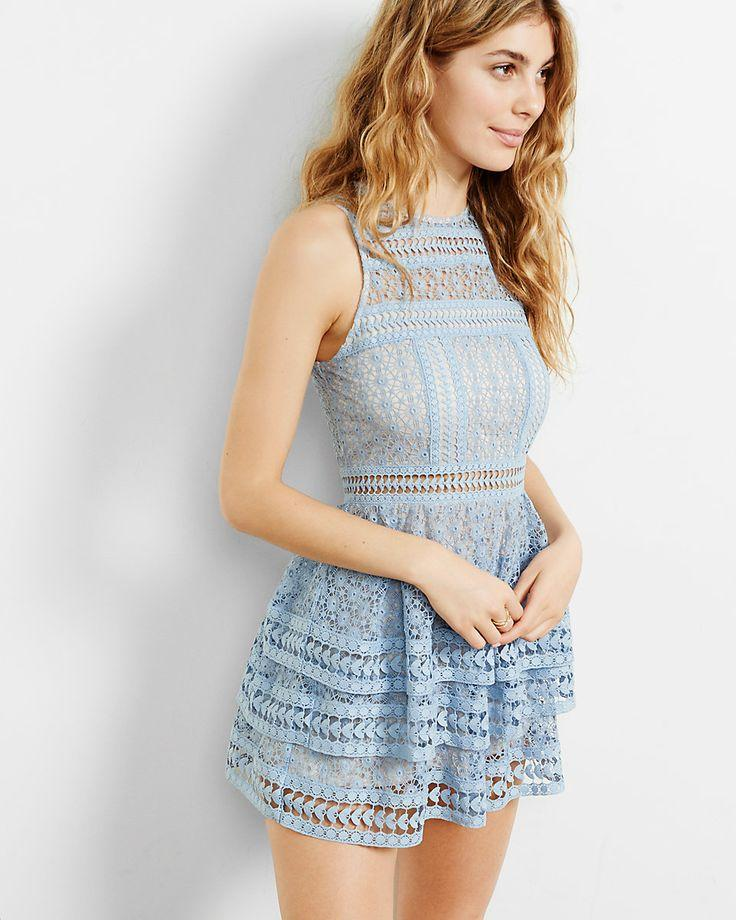 Wedding - Tiered Lace Fit And Flare Dress