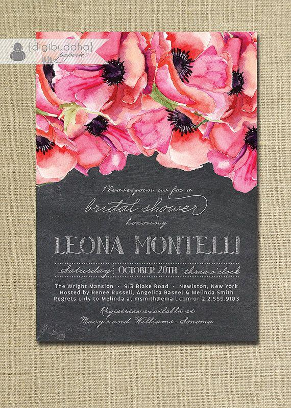 Wedding - Chalkboard Floral Bridal Shower Invitation Rustic Anemones Classic Elegant Wedding Invite FREE PRIORITY SHIPPING Or DiY Printable - Leona