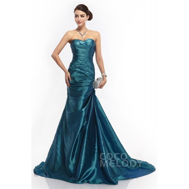 Свадьба - Trumpet-Mermaid Sweetheart Dropped Court Train Taffeta Cascade Sleeveless Lace Up-Corset Evening Dresses COLT14013 - Top Designer Wedding Online-Shop