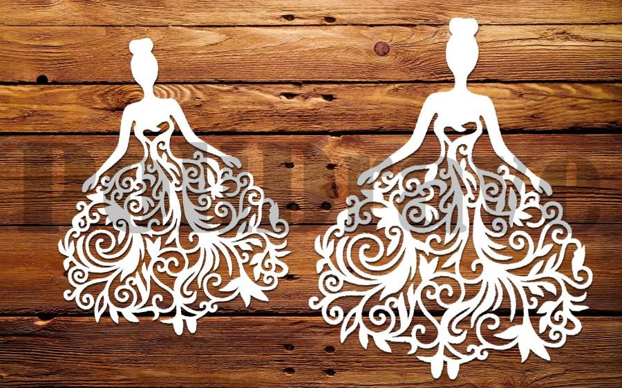 Wedding - Template wedding ,SVG, Bride pattern, bride for carving, cutting template Instal Download Dies cutting Silhouette Cameo ETSYPoliDrawe