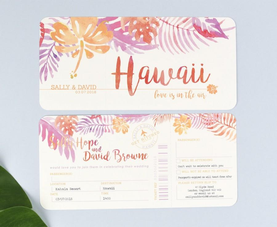 Tropical Airline Ticket Wedding Invitations With Tear Off RSVP Section  Airline Ticket Invitation