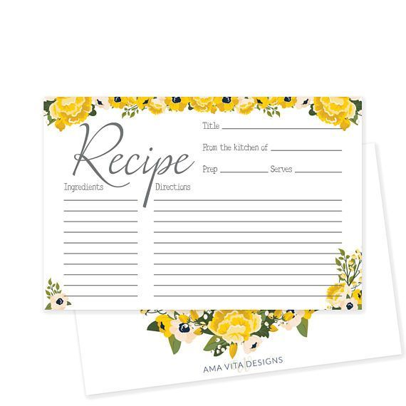 printable recipe card for bridal shower