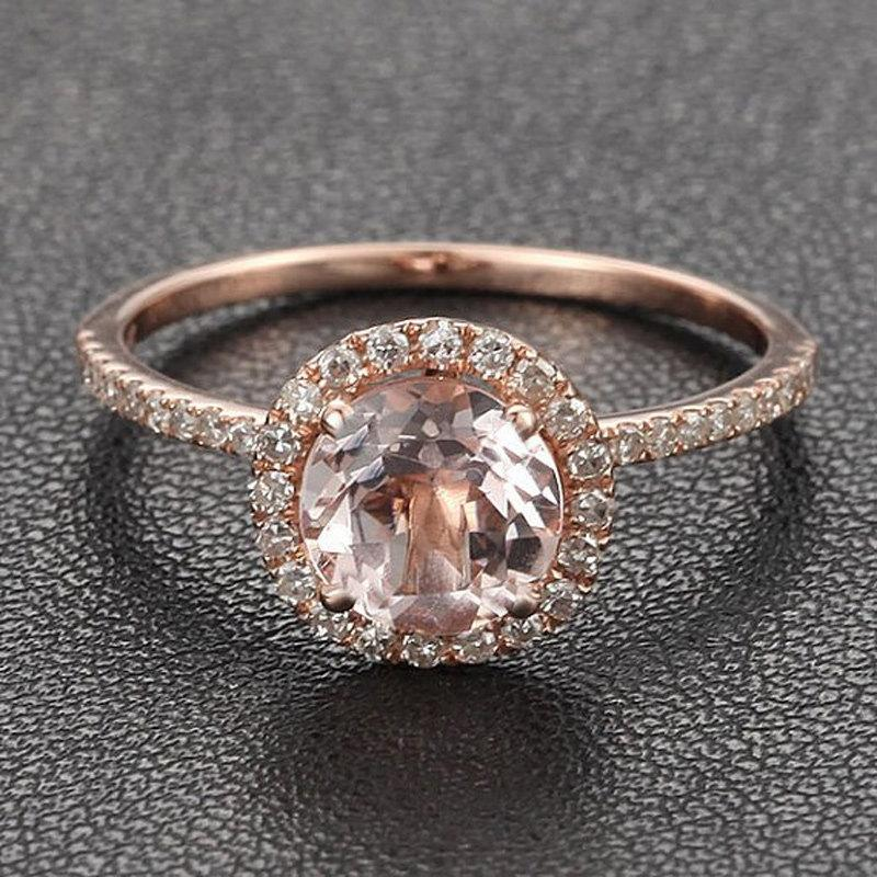 Wedding - Limited Time Sale Antique 1.25 carat Morganite and Diamond Halo Engagement Ring in 10k Rose Gold for Women