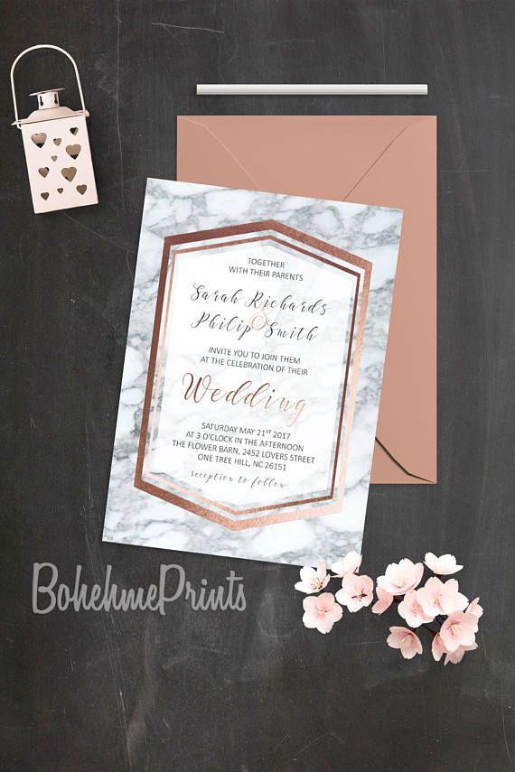 Свадьба - Rose Gold Marble Wedding Invitation Geode Wedding Suite Printable Rose Gold Wedding Invitation Set Marble Invitations Geode Wedding Invites