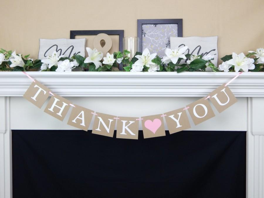 Wedding - Thank you banner, rustic wedding banner, thank you sign,wedding decor, photo prop banner, thank you, wedding banners, thank you wedding sign