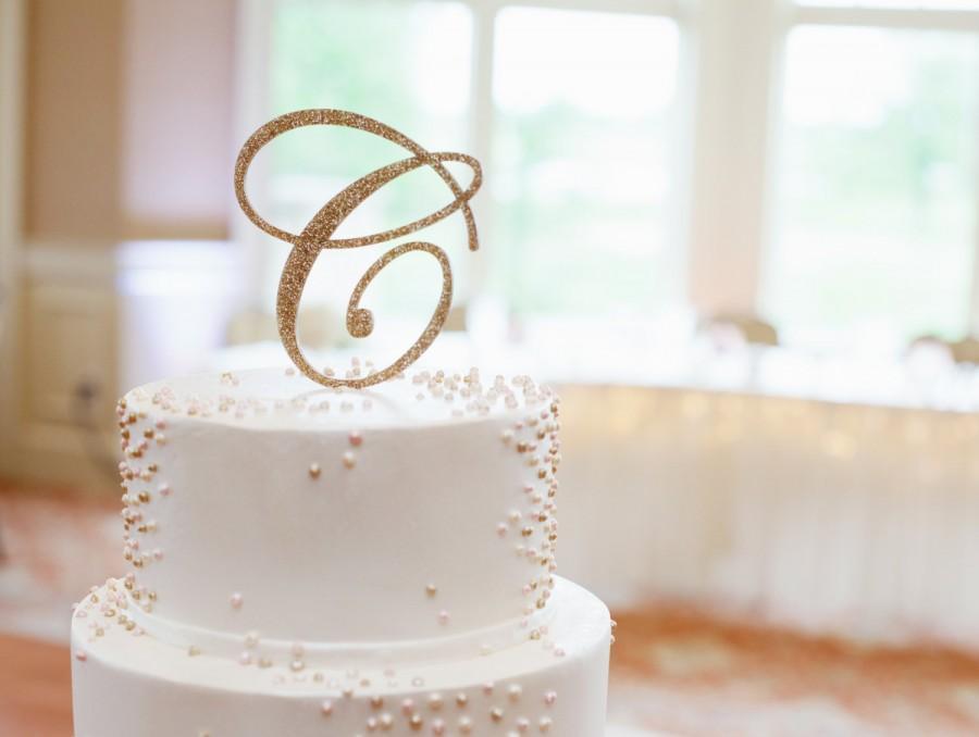 Wedding - Wedding Cake Topper Letter Monogram in Glitter or Wood Cake Topper for Party or Event Wedding Cake, Engagement, Shower, Etc. (Item - CTL900)