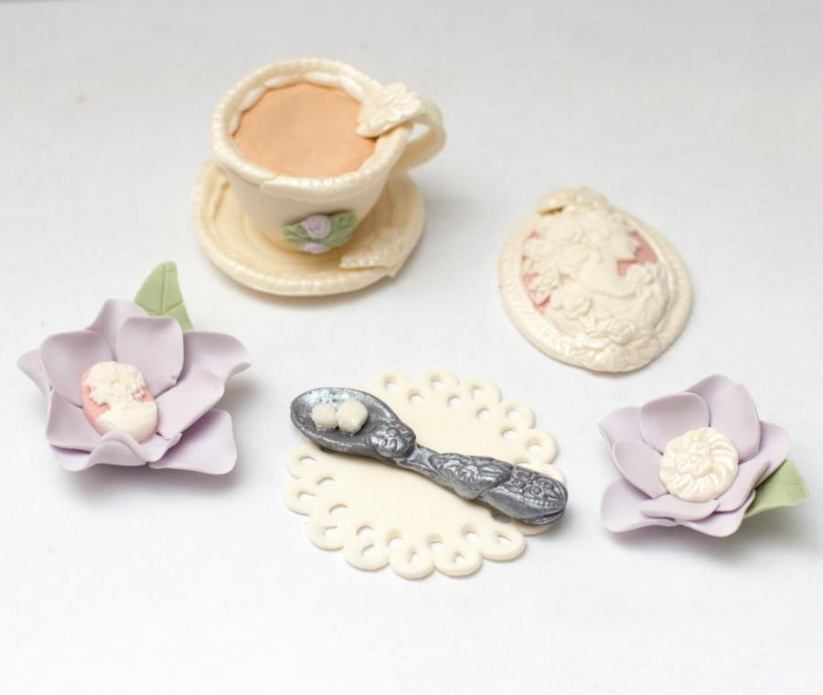 Wedding - Fondant Tea Party toppers - See shipping section below for turnaround time