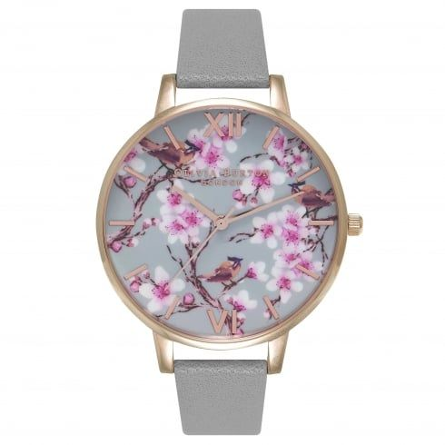 Wedding - Olivia Burton Painterly Prints Blossom Birds Grey & Rose Gold OB15PP09