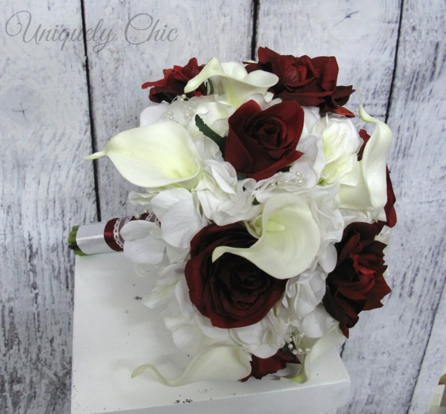 Wedding - Burgundy wine rose calla Wedding bouquet - Silk flower Bridal bouquet - Ready to ship