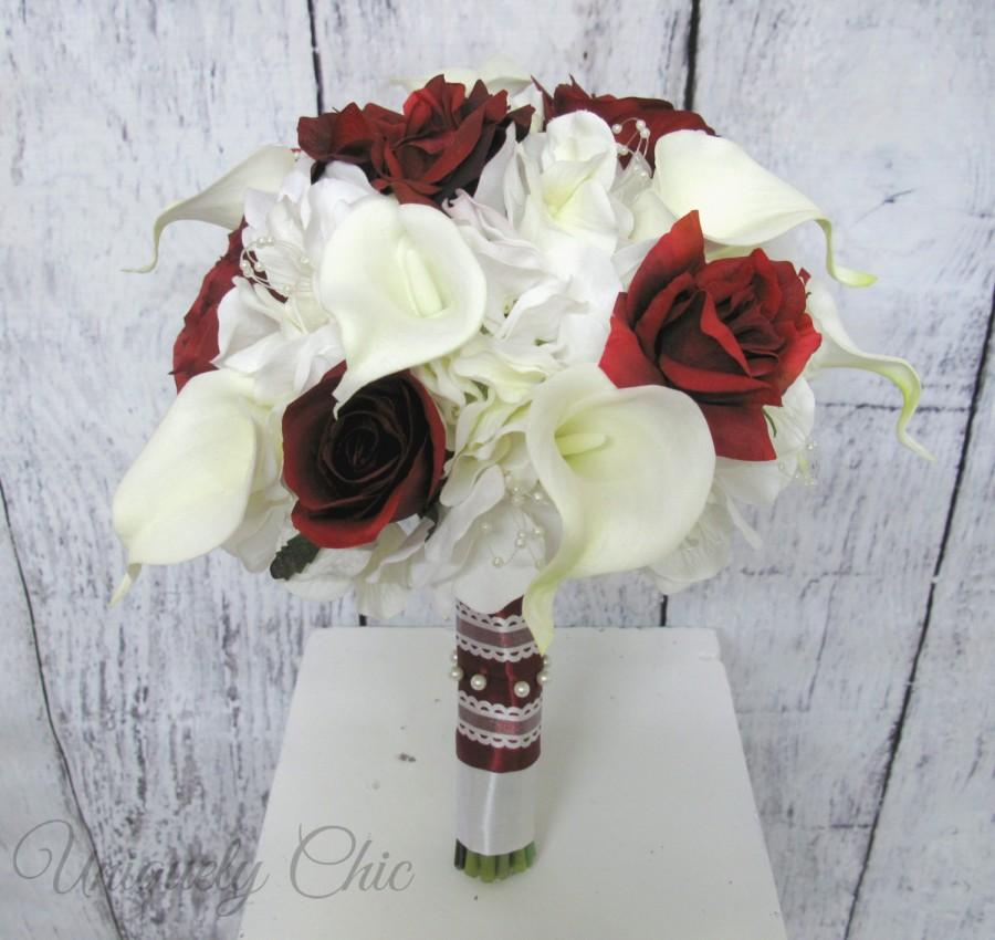 Wedding - Bridal bouquet, Burgundy rose Wedding bouquet, Wine rose, Calla bridesmaids bouquets, calla lily and rose wedding flowers, silk flowers