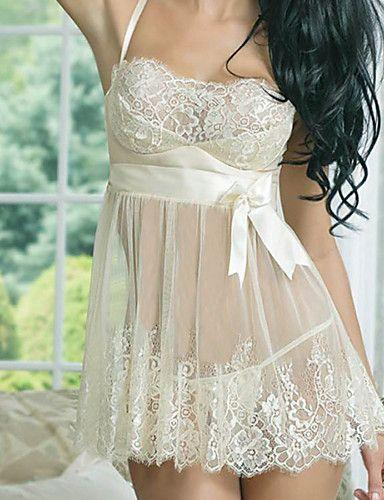 Hochzeit - Women Chemises & Gowns Nightwear,Lace Solid Spandex Core Spun Yarn Beige