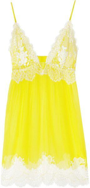 Boda - Women's Yellow Chantilly Lace And Silk-chiffon Chemise