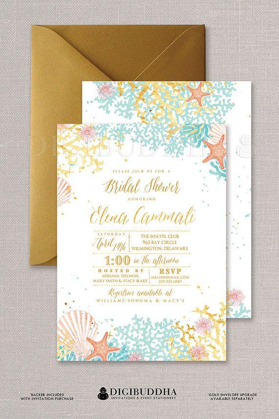 زفاف - Beach Bridal Shower Invitation Watercolor Ocean Coral Gold Foil Look Bohemian Wedding Invite FREE PRIORITY SHIPPING Or DiY Printable- Elena