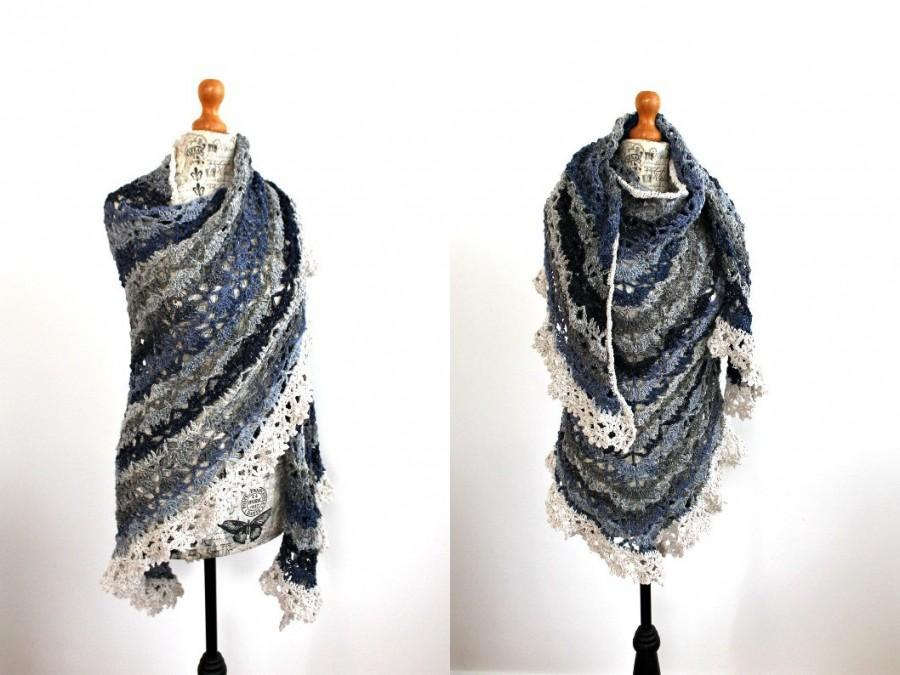 Wedding - Handmade Bridal lace shawl Crochet shawl Scarf Bridesmaid gift Crocheted shrug Wool wrap Wool shawl Organic linen Silk Boho Hippie clothing
