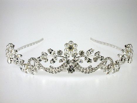 زفاف - Wedding Tiara - Pearl and Crystal Tiara - Georgina Bridal Tiara with Rhinestones and Pearls - Bridal Headpiece - Wedding Accessories