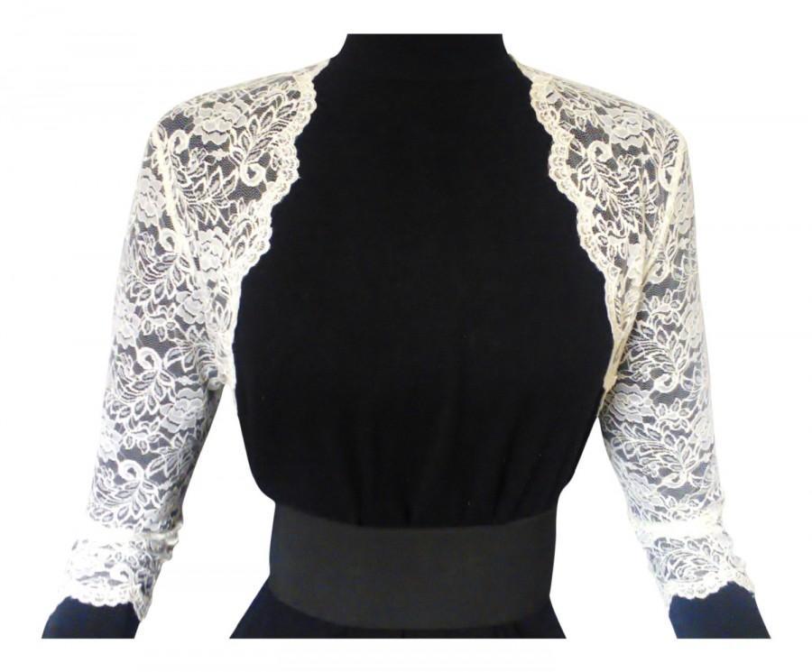Wedding - Ladies Ivory or white Lace Bolero/Shrug 3/4 Sleeve in Sizes UK 8,10,12,16 or 18