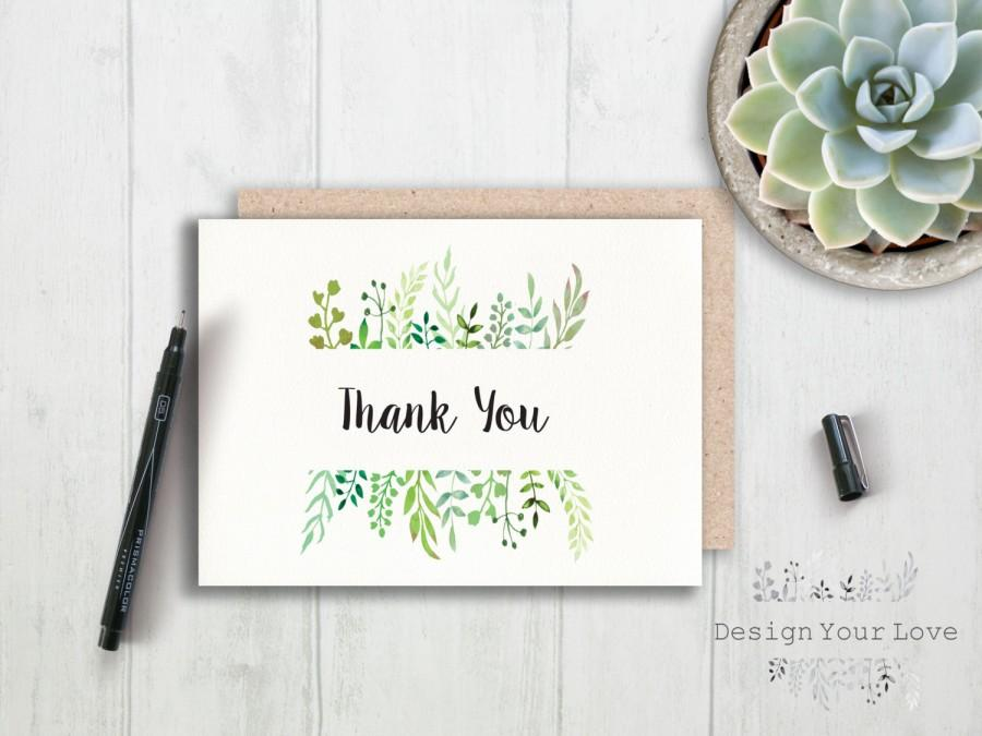 Свадьба - printable thank you card printable greenery thank you leafy wreath thank you card green wedding watercolor greenery bridal shower thank you