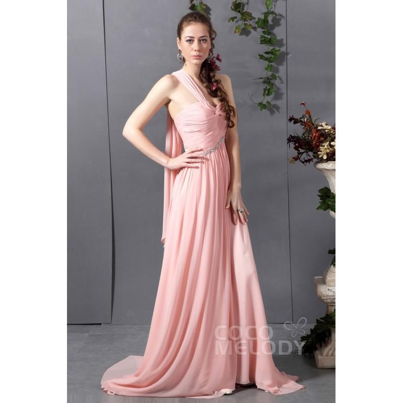 Wedding - Delicate Sheath-Column One Shoulder Sweep Brush Train Chiffon Veiled Rose Evening Dress - Top Designer Wedding Online-Shop