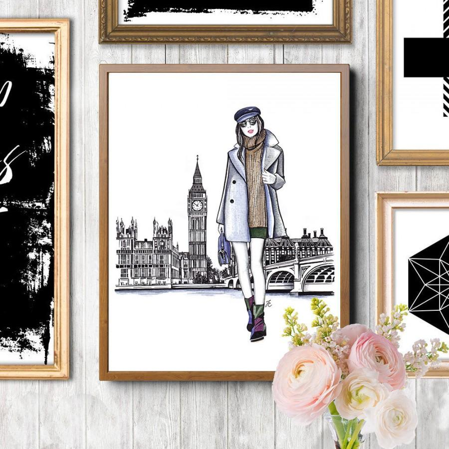 Boda - London, London illustration, London girl art, London painting, London drawing, London watercolor, Fashion illustration, Fashion print