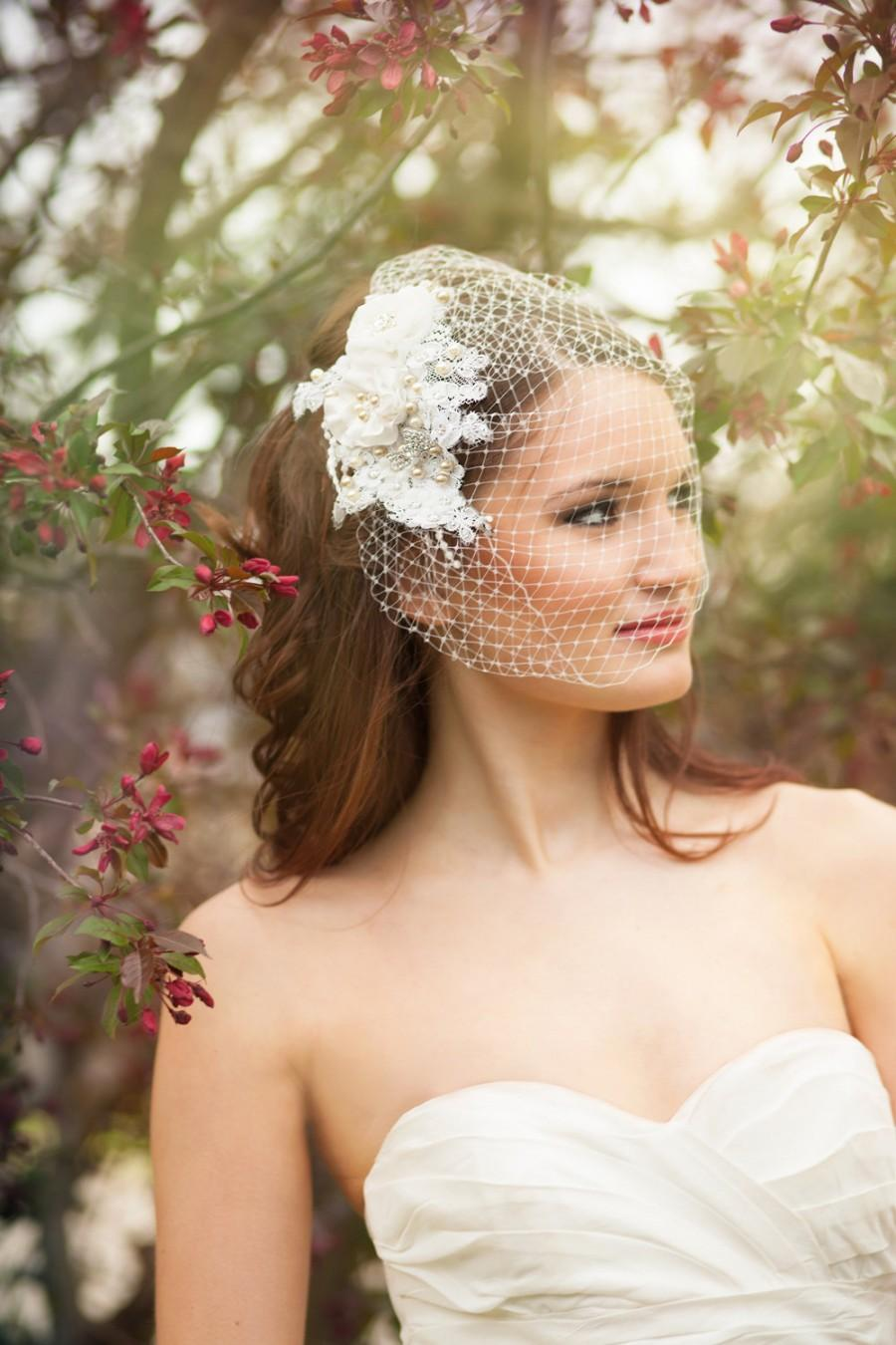 Wedding - Embellished Birdcage Veil with Alencon Lace, Flowers, Pearls, and Crystals - Amsterdam