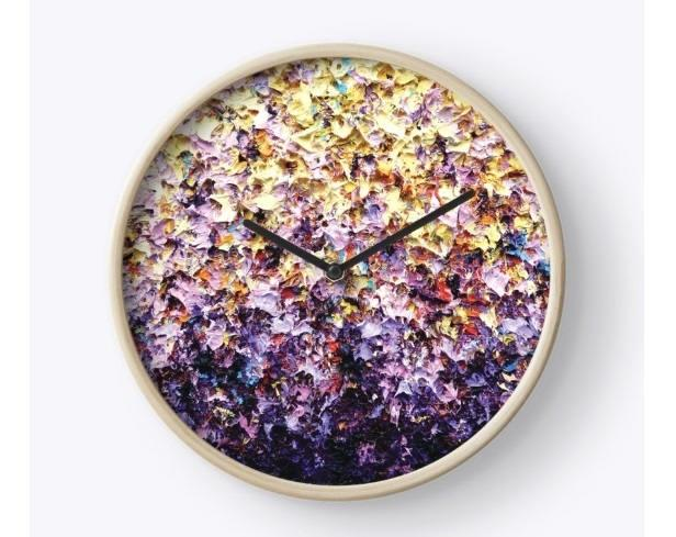 Wedding - Multicolored Wall Clock, Wooden Wall Clock, Lavender and Yellow Expressionism Clock, Colorful Housewares, Round Clock, Artsy Office Supplies