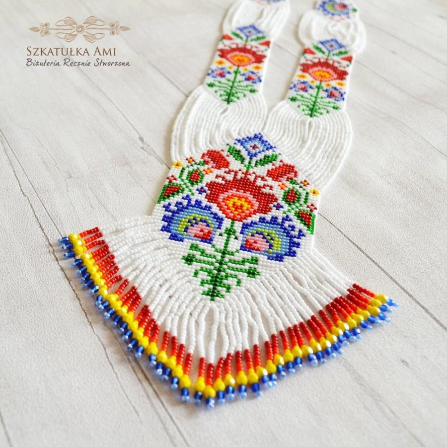 Mariage - Łowicz gerdan necklace Long necklace American native folk style handmade Handmade jewelry Gift for her him ukrainian folk poland Seed beads