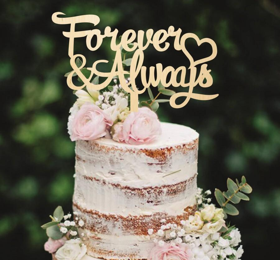 Wooden Cake Topper Forever And Always Custom Wedding Decoration Golden