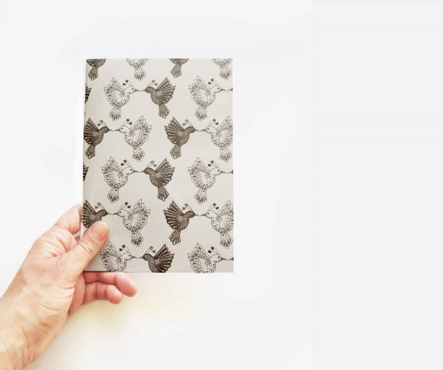 Boda - black and white journal, bird pattern notebook, minimal stationary, wraparound artwork cover, art journal, lovebirds,graphic design,handmade