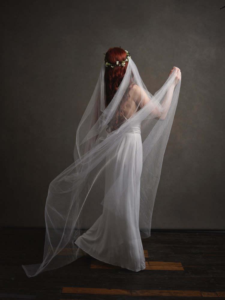Wedding - Add a veil to any crown - bridal veil, wedding veil, cathedral length veil, veil comb, wedding headpiece, vintage veil, boho rustic wedding
