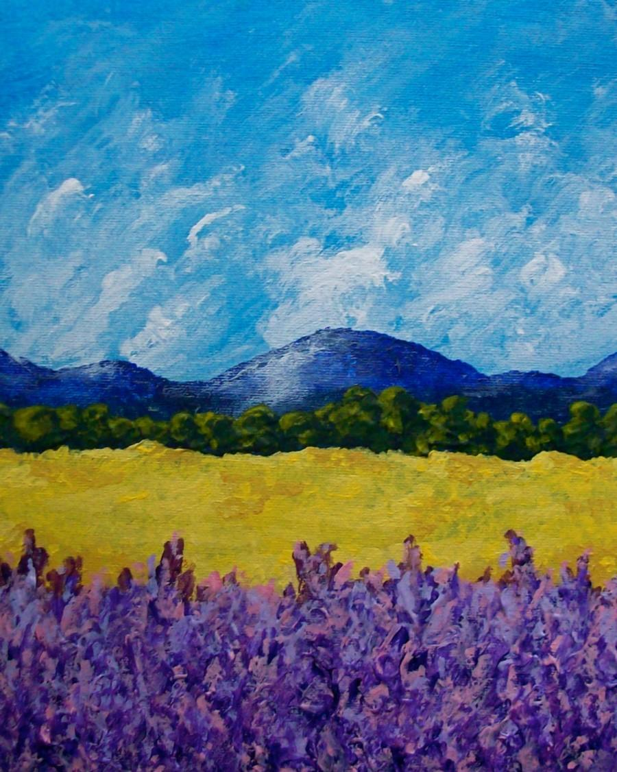 "Mariage - Sunflowers and Lavender In Provence (ORIGINAL ACRYLIC PAINTING) 8"" x 10"" by Mike Kraus"