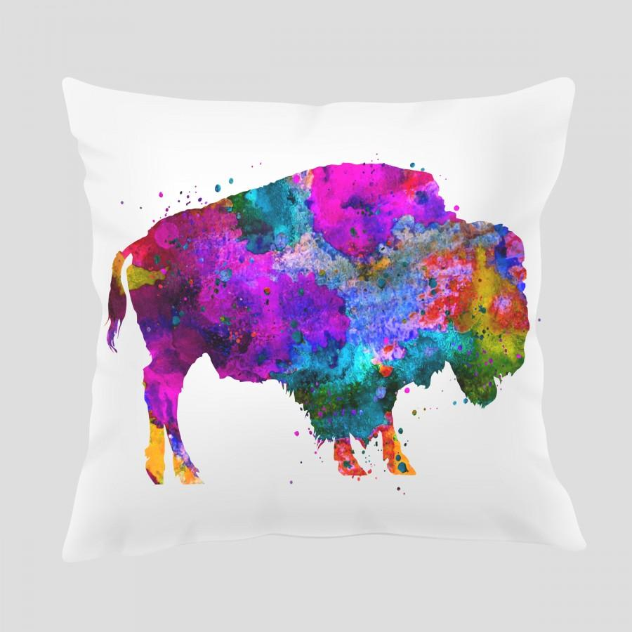 Hochzeit - Watercolor Buffalo Throw Pillow, Watercolor Buffalo Pillow, Pillow Cover, Accent Pillow, Nursery Decor, Kids Room Decor