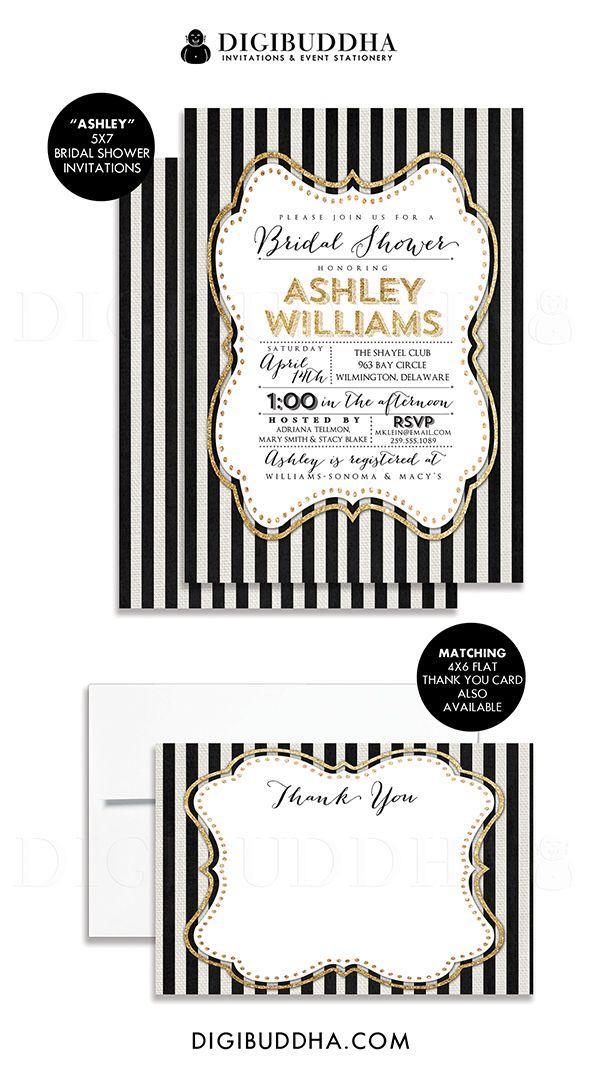 زفاف - Gold Black & White Bridal Shower Invitation Gold Glitter Sparkly Striped Linen Shabby Chic FREE PRIORITY SHIPPING Or DiY Printable - Ashley