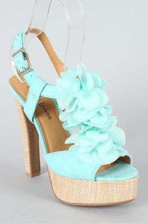 Wedding - Sabine-02 Chiffon Floral T-Strap Sandal