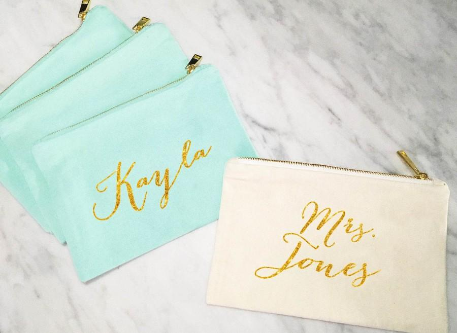 Wedding - Bridesmaid Makeup Bag, Personalized Mrs Makeup Bag, Bridesmaid Gift, Personalized Pouch, Mint and Gold Canvas Bag, MANY COLORS