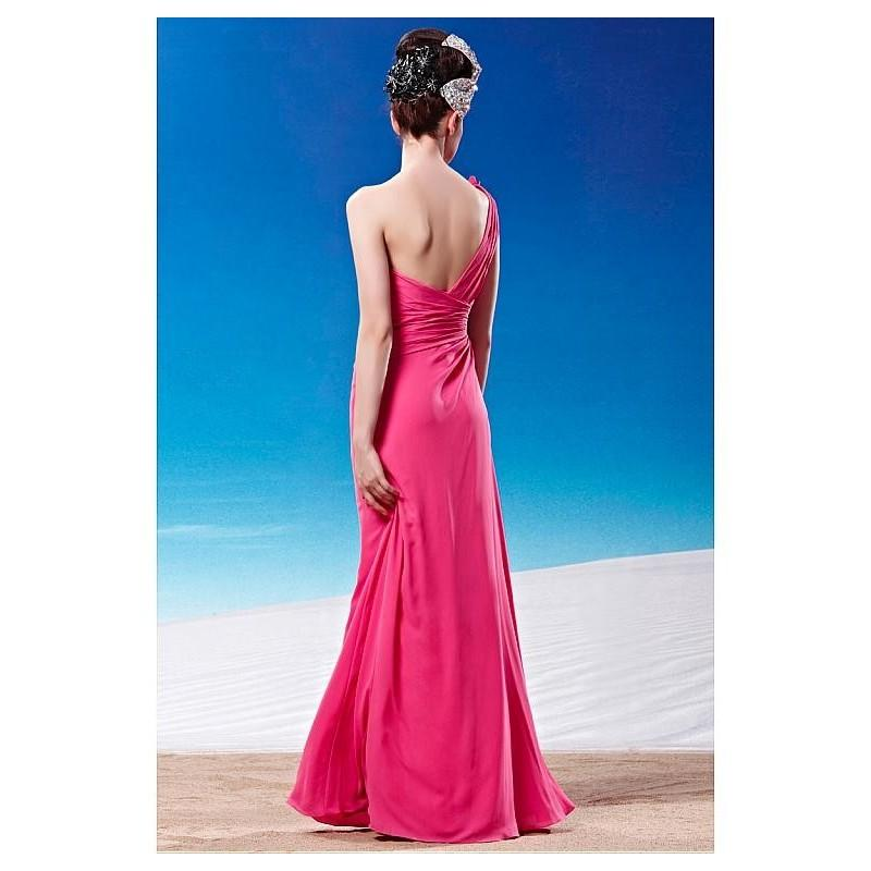 Mariage - In Stock Sheath One-shoulder Empire Wasit Prom Dress with Flower Detail on Bodice - overpinks.com