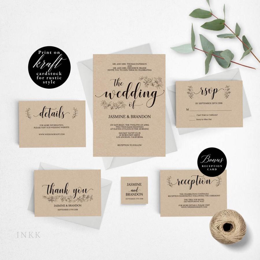 Wedding - Romantic Rustic Wedding Invitation Template, Wedding Invitation Printable, Invitation Set, Cheap Invitation, DIY PDF Instant Download #E017