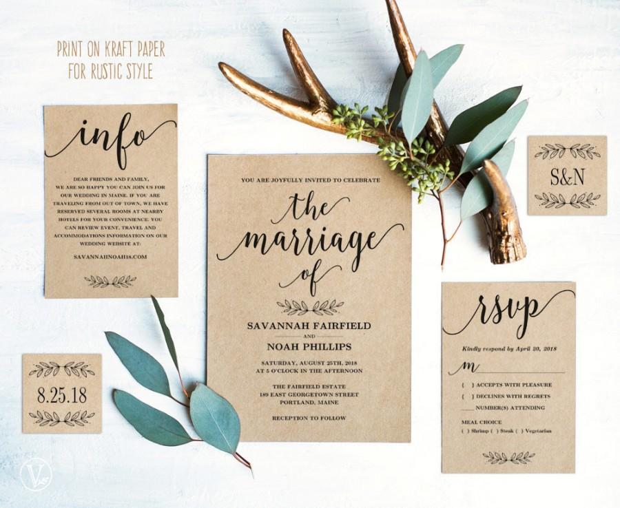 زفاف - Modern Calligraphy Wedding Invitation, Printable Wedding Invitation Template, Minimalist Wedding Invitation, Editable Text, Marriage VW10