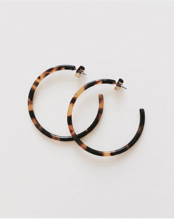 Mariage - Tortoise Hoop Earrings Large Open Hoop HANDMADE Small & Large