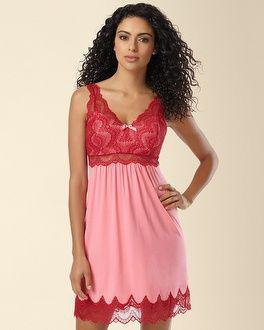 Nozze - Soma Intimates Geo Scallop Lace Sleep Chemise Peony/Ruby