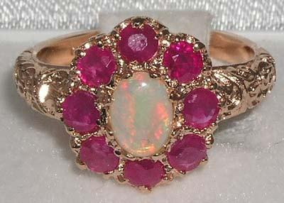 Wedding - Solid 9K 375 Rose Gold Natural Colorful Opal & Ruby Engagement Ring, English Vintage Ornamental Design Cluster Flower Ring - Customizable